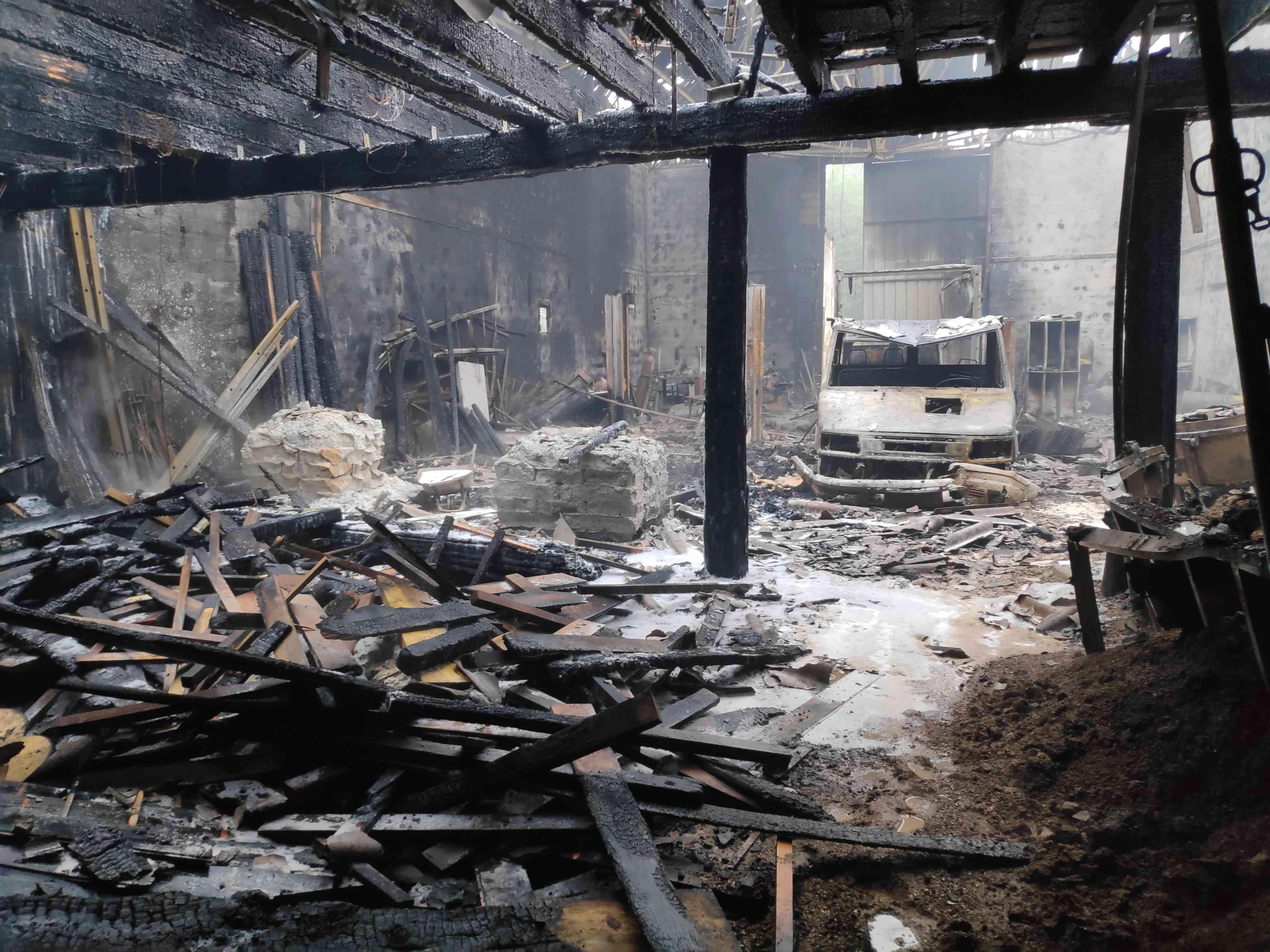 Après le feu, vue de l'intérieur